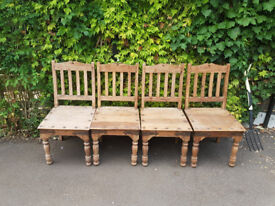 4 X INDIAN WOOD CHAIRS. £10.00 EACH