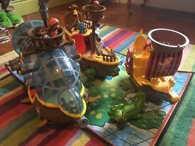 Jake and the Never Land Pirates toy ships x 3, plus play mat and characters