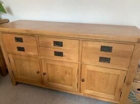 Solid Wood Sideboard with 3 cupboards and 4 drawers