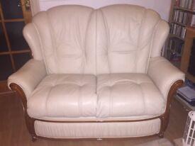 Ferrari Divani Italian Leather Sofa, Armchair and Stool with Mahogany Trim