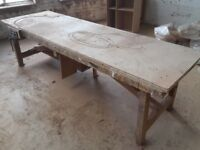 Wooden joiner's bench with quick release vice & cupboard