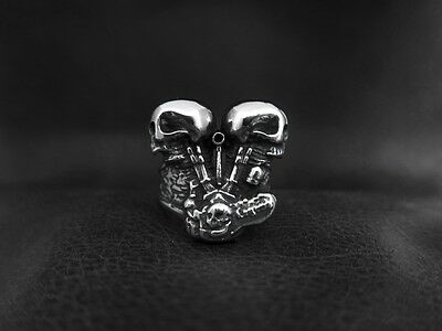 Heavy Silver SKULL V Twins ENGINE Biker Ring for Harley Davidson Motor Biker 177