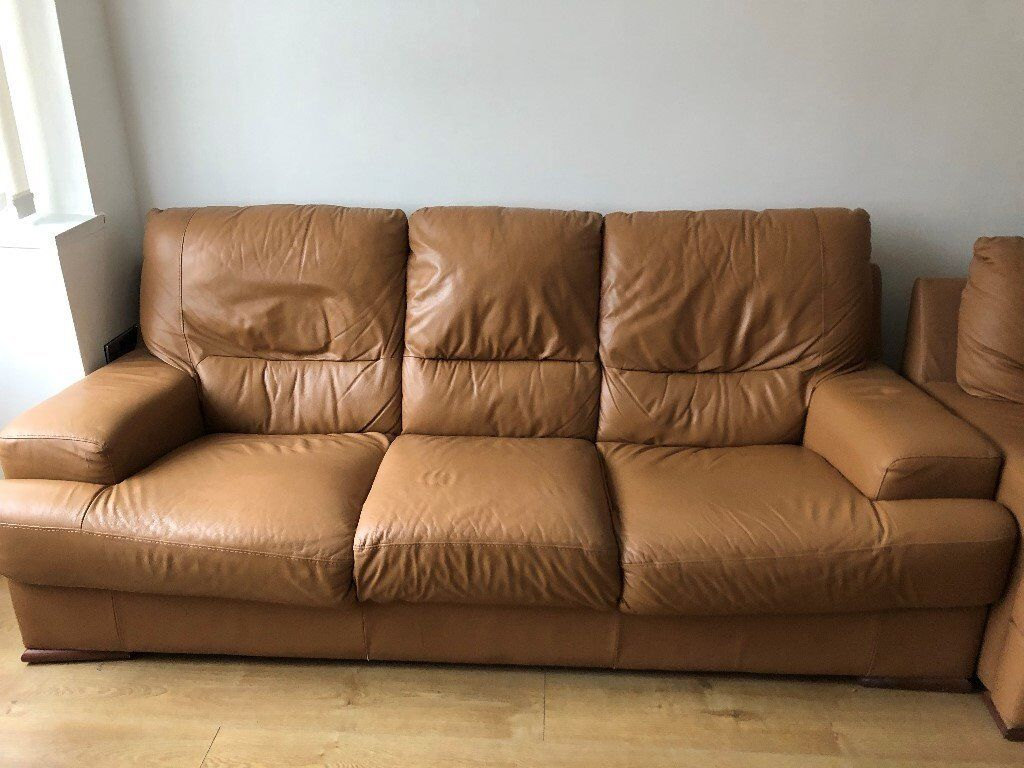 Free Second Hand Tan Leather Sofa Suite In Harrow