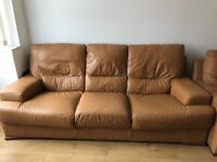 FREE - Second hand tan leather sofa suite