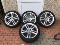 19'' GENUINE AUDI A7 S LINE 5 DOUBLE SPOKE ALLOY WHEELS AND TYRES A4 A5 A6 5x112