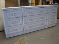 White Bedroom Furniture Set. 3 Drawer Chest and 2 Matching Bedside Cabinets