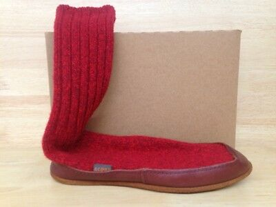 Acorn Mismated Unisex Slipper Sock Red Ragg Wool US Size RtXS/LfS