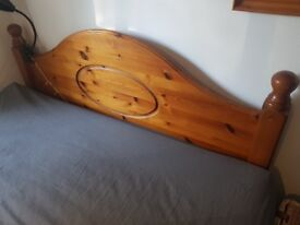 Pine Double Bed (with mattress, see description)