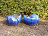 Large Blue Glazed Shell Pots (x2)