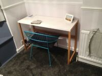 White metal topped desk with wooden legs, in great condition