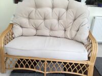 3 piece Cane Conservatory Furniture with cushions.