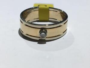 #1328 14K WHITE & YELLOW MENS WIDE DIAMOND WEDDING BAND. SIZE 9 7/8. **JUST BACK FROM APPRAISAL AT $1950.00**