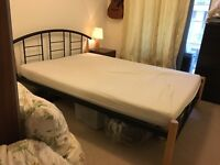 Double Bed, Mattress and IKEA bedside table. For sale together or separately