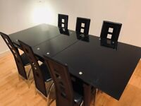Black Glass Extendable Dining Table & Chairs