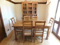 Barker and Stonehouse Mango Wood Table with Six chairs and Barker and Stonehouse display cabinet.