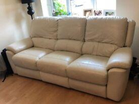 White Reclining Sofa leather