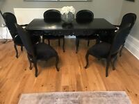 Black French style dining table 6 chairs solid hand carved wood