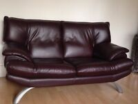 Modern style, dark maroon 1 x 2 & 1 x 3 seater leather sofas. Great condition, £300 ono.