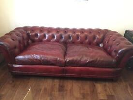 John Lewis Chatsworth Leather Grand Chesterfield Sofa Oxblood