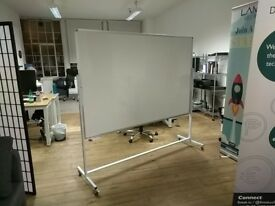 Large free standing whiteboard on wheels