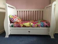 Boori Country Style Sleigh White Cotbed toddler Bed - 3 in 1 cot, cot bed, toddler bed and seat