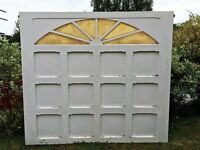 Fibre Glass Garage Door, good condition, with spring and attachments, 204cm by 226 cm