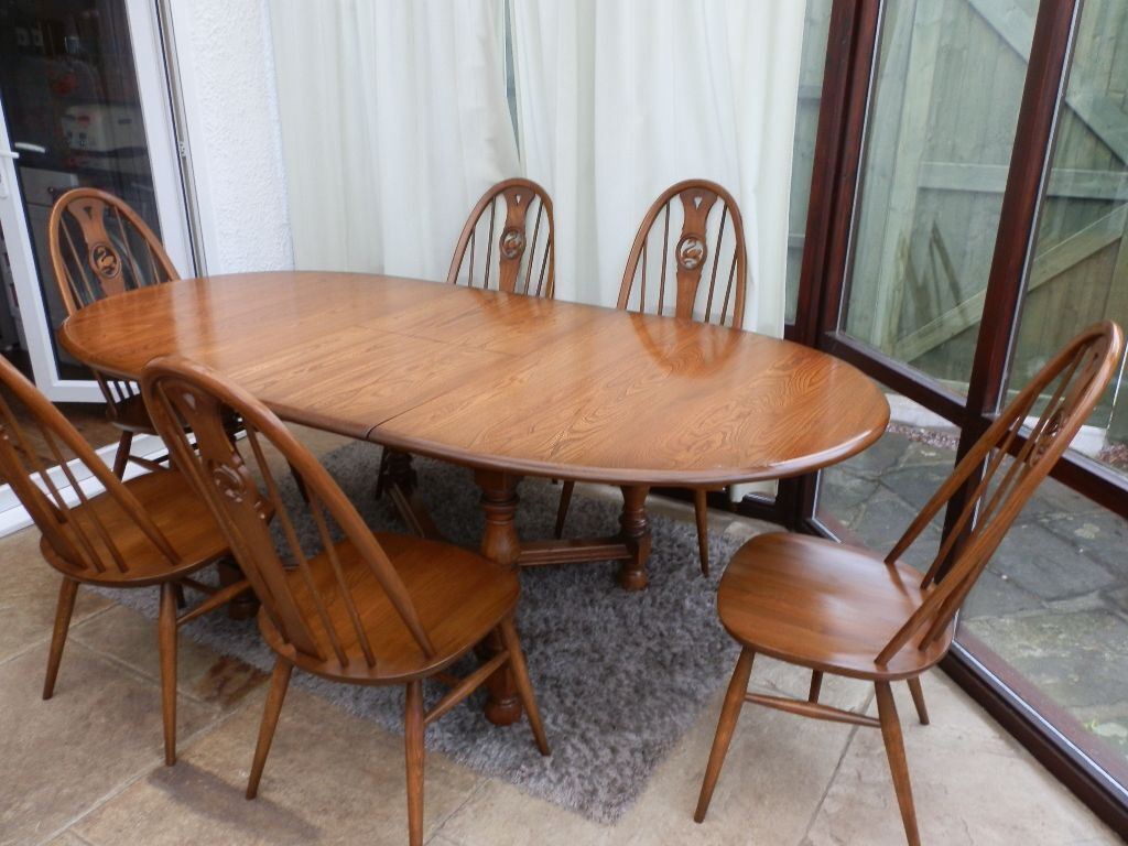 Retro Extending Dining Table Genuine Retro Ercol Old Colonial Dining Table And 6 Chairs In