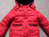 Boys Marks and Spencer Long Sleeve Bright Red Padded Coat, £3. 5-6 years (Height 116cm).