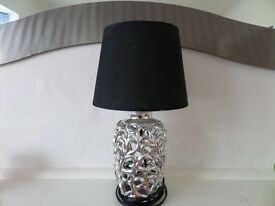 """Small Table Lamp with black shade and chrome-like metal base, size 14.5"""" high (37cm), pre-owned"""