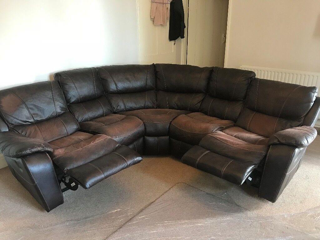 Italian Brown Leather Corner Reclining Sofa