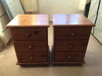 Bedside table drawers pine