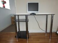 FURTHER REDUCED - Modern Black Glass Computer Desk Workstation