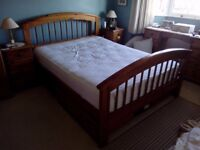 Wooden framed king size bed and mattress