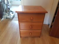 pine beside 3 draw cabinet