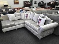 Crushed velvet corner sofa BRAND NEW l@@k!