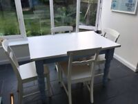 Vintage, cottage style, painted pine dining table and chairs, seats 4.