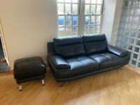 Modern 3.5 Piece Black Leather Sofa Suite