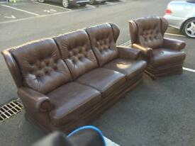 3 Seater Chesterfield Style Sofa and Chair
