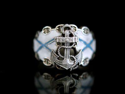 Offizier Ring Silber 84 & Emaille Zaren Russland Marine Regiment
