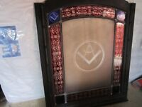ANTIQUE ARCHITECTURAL GLASS LARGE WINDOW DEPICTING MASONIC SYMBOLS IN 19TH CENTURY ETCHED GLASS