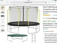 SOLD!! Brand new 12foot Plum Wave trampoline with ladder and safety net enclosure £100 ovno