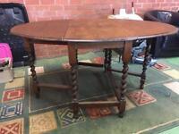 Oak oval barley twist table