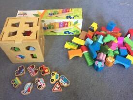 3 sets of wooden blocks