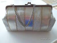 Handbag vintage original 50s - 60s silver lurex type