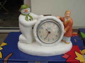 Coalport Snowman Figures - The Snowmen - Clock with Snowman & James