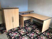 Large maple veneer corner desk and bookcase