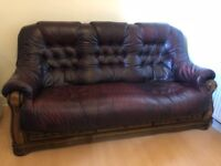 Wine Leather and Solid Wood Sofa Set