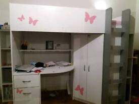 Girls Highrise Bed with desk and wardrobe