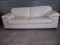Luxury Cream Italian Leather 3+2-seater Suite