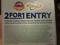 2 for 1 ENTTRY voucher Altona Towers/THORP PARK